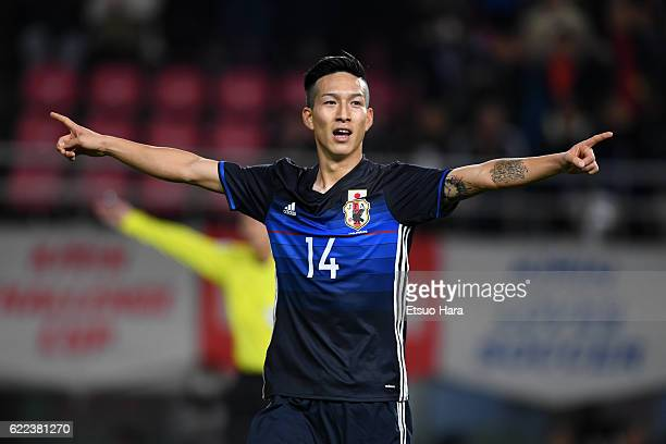 Yuki Kobayashi of Japan celebrates scoring his team's fourth goal during the international friendly match between Japan and Oman at Kashima Soccer...