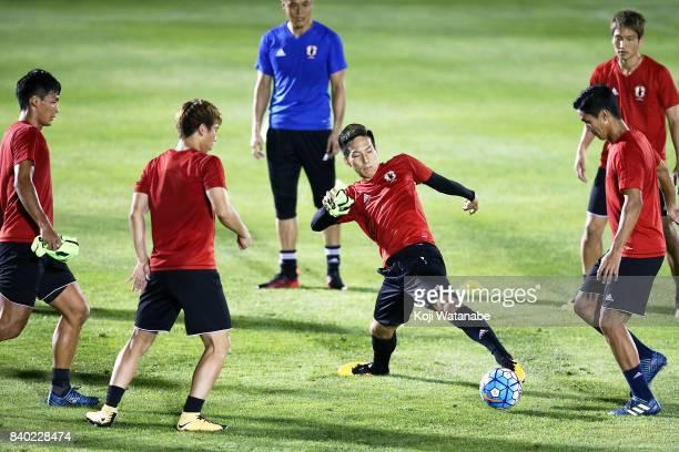 Yuki Kobayashi of Japan in action during a Japan training session at Saitama Stadium Sub Ground on August 28 2017 in Saitama Japan