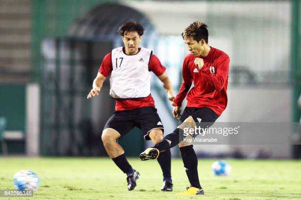Yuki Kobayashi of Japan in action during a training session ahead of the FIFA World Cup qualifier against Saudi Arabia at AlAhli Saudi Sports Club on...