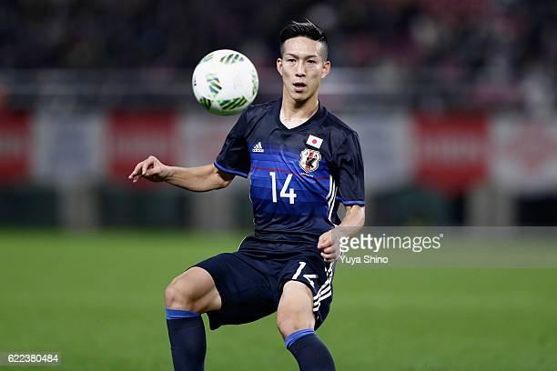 Yuki Kobayashi of Japan in action during the international friendly match between Japan and Oman at Kashima Soccer Stadium on November 11 2016 in...