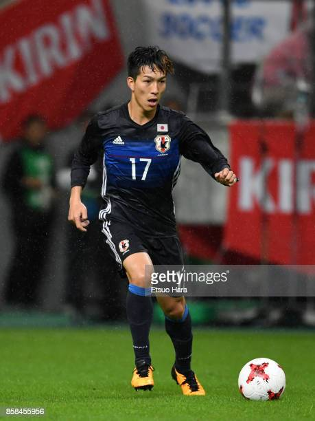 Yuki Kobayashi of Japan in action during the international friendly match between Japan and New Zealand at Toyota Stadium on October 6 2017 in Toyota...