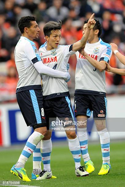 Yuki Kobayashi of Jubilo Iwata celebrates scoring his team's first goal with his team mates during the JLeague match between Omiya Ardija and Jubilo...