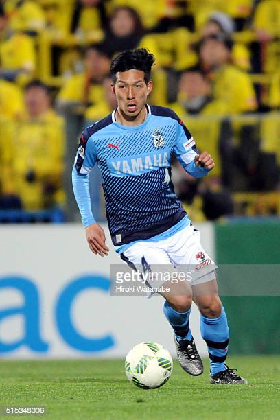 Yuki Kobayashi of Jubilo Iwata in action during the JLeague match between Kashiwa Reysol and Jubilo Iwata at the Hitachi Kashiwa Soccer Stadium on...