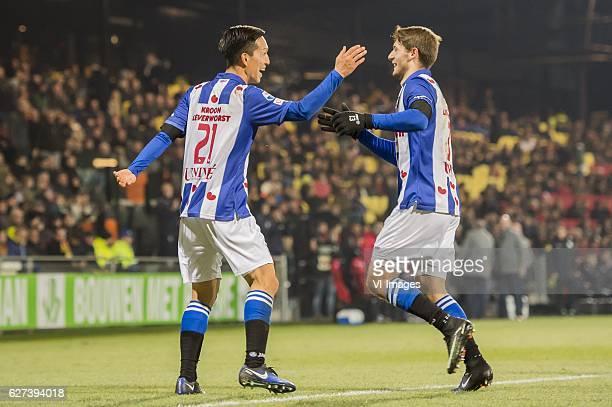 Yuki Kobayashi of SC Heerenveen Arber Zeneli of SC Heerenveenduring the Dutch Eredivisie match between Go Ahead Eagles and sc Heerenveen at The...