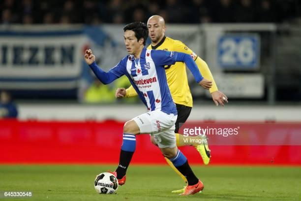 Yuki Kobayashi of sc Heerenveen Dani Schahin of Roda JCduring the Dutch Eredivisie match between sc Heerenveen and Roda JC at Abe Lenstra Stadium on...