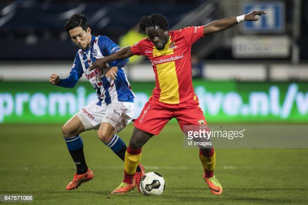 Yuki Kobayashi of SC Heerenveen Elvis Manu of Go Ahead Eaglesduring the Dutch Eredivisie match between sc Heerenveen and Go Ahead Eagles at Abe...