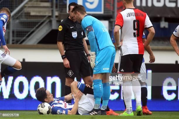 Yuki Kobayashi of sc Heerenveen goalkeeper Erwin Mulder of sc Heerenveenduring the Dutch Eredivisie match between sc Heerenveen and Feyenoord...