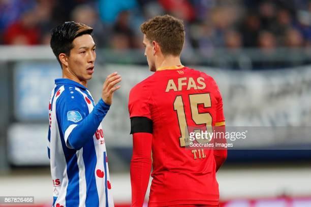 *Yuki Kobayashi* of SC Heerenveen *Guus Til* of AZ Alkmaar during the Dutch Eredivisie match between SC Heerenveen v AZ Alkmaar at the Abe Lenstra...
