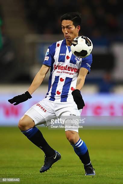 Yuki Kobayashi of sc Heerenveen in action during the Dutch Eredivisie match between SC Heerenveen and ADO Den Haag held at Abe Lenstra Stadium on...