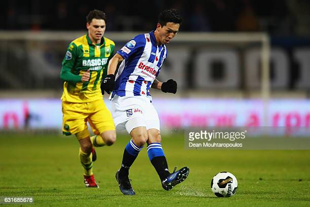 Yuki Kobayashi of sc Heerenveen in action during the Dutch Eredivisie match between SC Heerenveen and ADO Den Haag held at Abe Lenstra Stadium on...