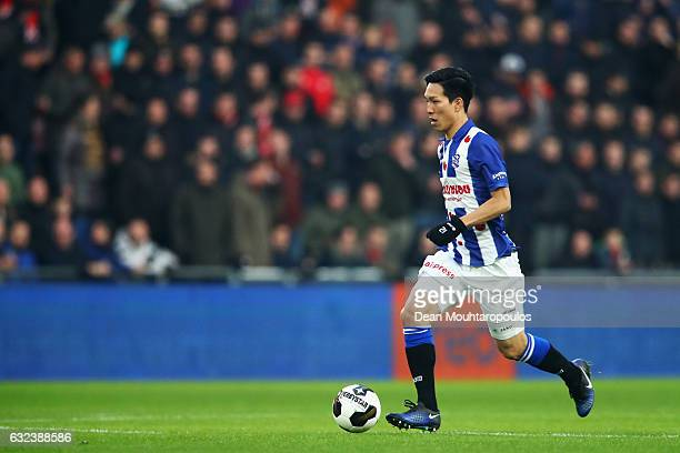 Yuki Kobayashi of sc Heerenveen in action during the Dutch Eredivisie match between PSV Eindhoven and SC Heerenveen held at Philips Stadion on...