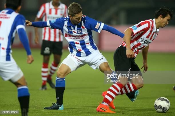 Yuki Kobayashi of sc Heerenveen Kenneth Dougall of Sparta Rotterdam during the Dutch Eredivisie match between Sparta Rotterdam and sc Heerenveen at...