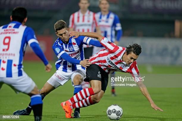 Yuki Kobayashi of SC Heerenveen Kenneth Dougall of Sparta Rotterdam during the Dutch Eredivisie match between Sparta v SC Heerenveen at the Sparta...