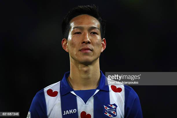 Yuki Kobayashi of sc Heerenveen looks on after the Dutch Eredivisie match between SC Heerenveen and ADO Den Haag held at Abe Lenstra Stadium on...