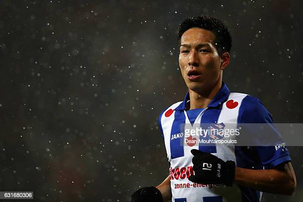 Yuki Kobayashi of sc Heerenveen looks on during the Dutch Eredivisie match between SC Heerenveen and ADO Den Haag held at Abe Lenstra Stadium on...