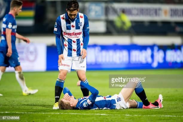 Yuki Kobayashi of sc Heerenveen Martin Odegaard of sc Heerenveenduring the Dutch Eredivisie match between sc Heerenveen and Willem II at Abe Lenstra...