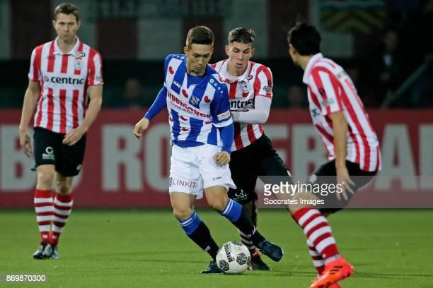 Yuki Kobayashi of SC Heerenveen Stijn Spierings of Sparta Rotterdam during the Dutch Eredivisie match between Sparta v SC Heerenveen at the Sparta...