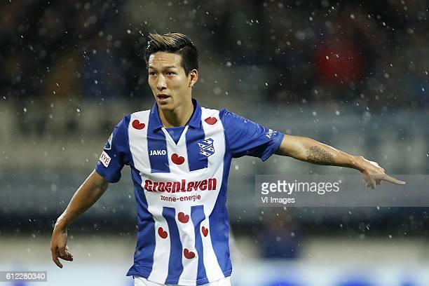 Yuki Kobayashi of sc Heerenveenduring the Dutch Eredivisie match between sc Heerenveen and PSV Eindhoven at Abe Lenstra Stadium on October 01 2016 in...