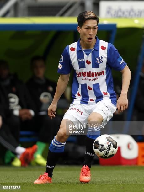 Yuki Kobayashi of sc Heerenveenduring the Dutch Eredivisie match between sc Heerenveen and Feyenoord Rotterdam at Abe Lenstra Stadium on March 19...