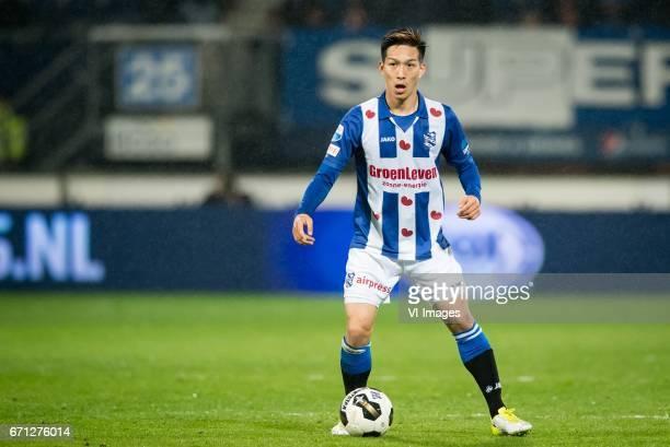 Yuki Kobayashi of sc Heerenveenduring the Dutch Eredivisie match between sc Heerenveen and Willem II at Abe Lenstra Stadium on April 21 2017 in...