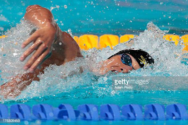Yuki Kobori of Japan competes during the Swimming Men's 4x200m Freestyle preliminaries heat two on day fourteen of the 15th FINA World Championships...
