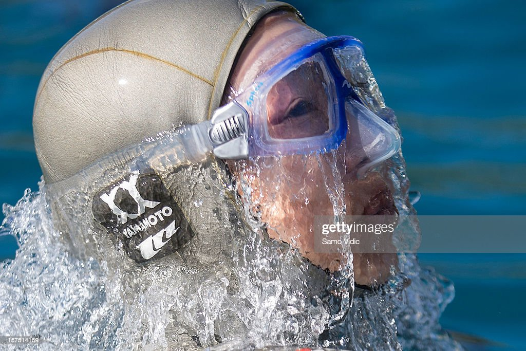 Yuki Moto of Japan comes to the surface during the Suunto free diving world cup on November 26, 2012 in Long Island, Bahamas.