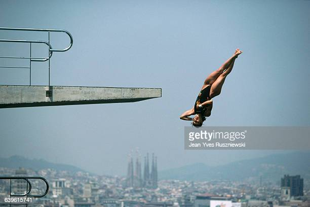 Yuki Motobuchi from Japan competes in the Women's springboard diving at the 1992 Olympic Games | Location Barcelona Spain
