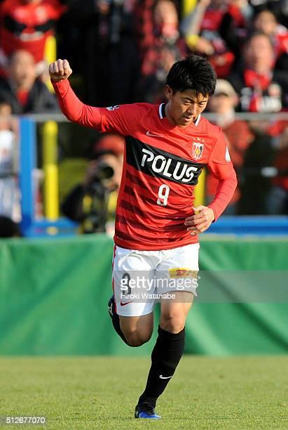 Yuki Muto of Urawa Red Diamonds celebrates scoring his team's first goal during the JLeague 2016 match between Kashiwa Reysol and Urawa Red Diamonds...