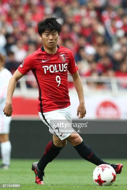 Yuki Muto of Urawa Red Diamonds in action during the JLeague J1 match between Urawa Red Diamonds and Consadole Sapporo at Saitama Stadium on April 22...