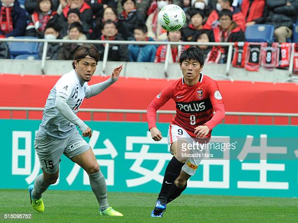 Yuki Muto of Urawa Red Diamonds in action during the JLeague match between Urawa Red Diamonds and Avispa Fukuoka at the Saitama Stadium on March 12...