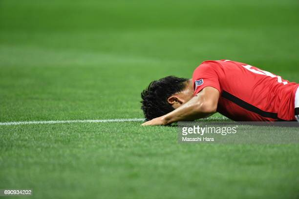 Yuki Muto of Urawa Red Diamonds looks on during the AFC Champions League Round of 16 match between Urawa Red Diamonds and Jeju United FC at Saitama...