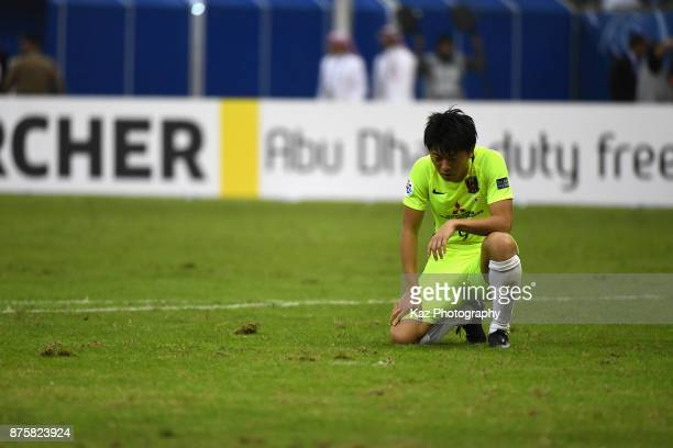 Yuki Muto of Urawa Red Diamonds reacts after the 11 draw in the AFC Champions League Final 2017 first leg between AlHilal and Urawa Red Diamonds at...