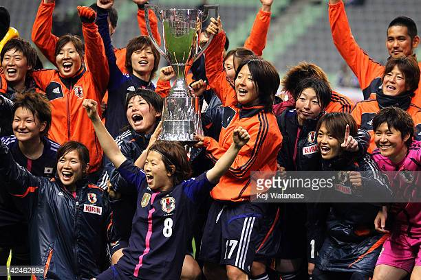 Yuki Nagasato of Japan celebrates after winning with Team mate during the international friendly match between Japan and Brazil at Home's Stadium...