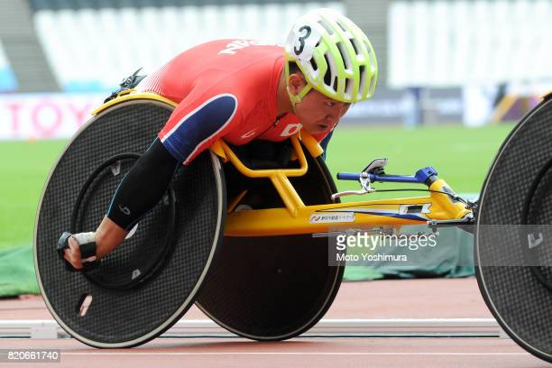 Yuki Nishi of Japan competes in the Men's 4×400m Relay T53/54 exhibition race during day six of the IPC World ParaAthletics Championships 2017 t...