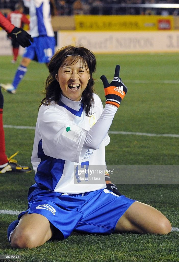 <a gi-track='captionPersonalityLinkClicked' href=/galleries/search?phrase=Yuki+Ogimi&family=editorial&specificpeople=9532711 ng-click='$event.stopPropagation()'>Yuki Ogimi</a> celebrates after scoring a goal during the Great East Japan Earthquake charity match 'SAWA and Friends, X'mas Night 2012' at the National Stadium on December 25, 2012 in Tokyo, Japan.