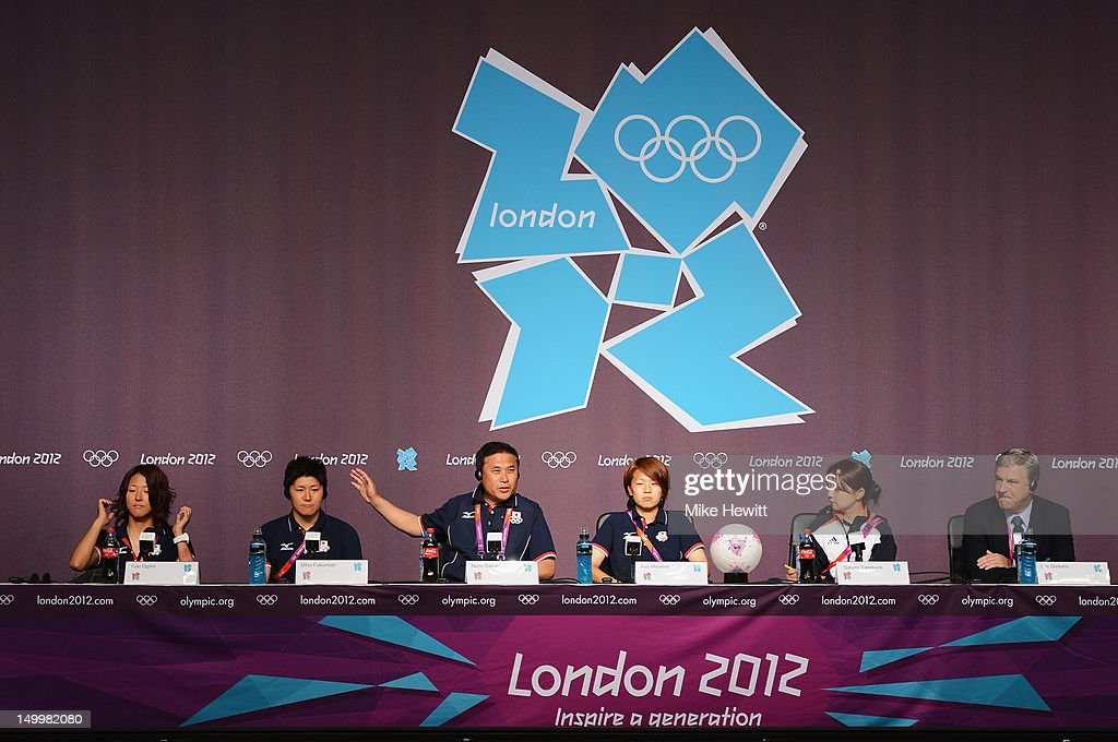 Yuki Ogimi, Miho Fukumoto, coach Norio Sasaki and captain Aya Miyama of the Japan Women's football team face the media during a press conference ahead of the Women's Football Final between Japan and United States at Olympic Park on August 8, 2012 in London, England.