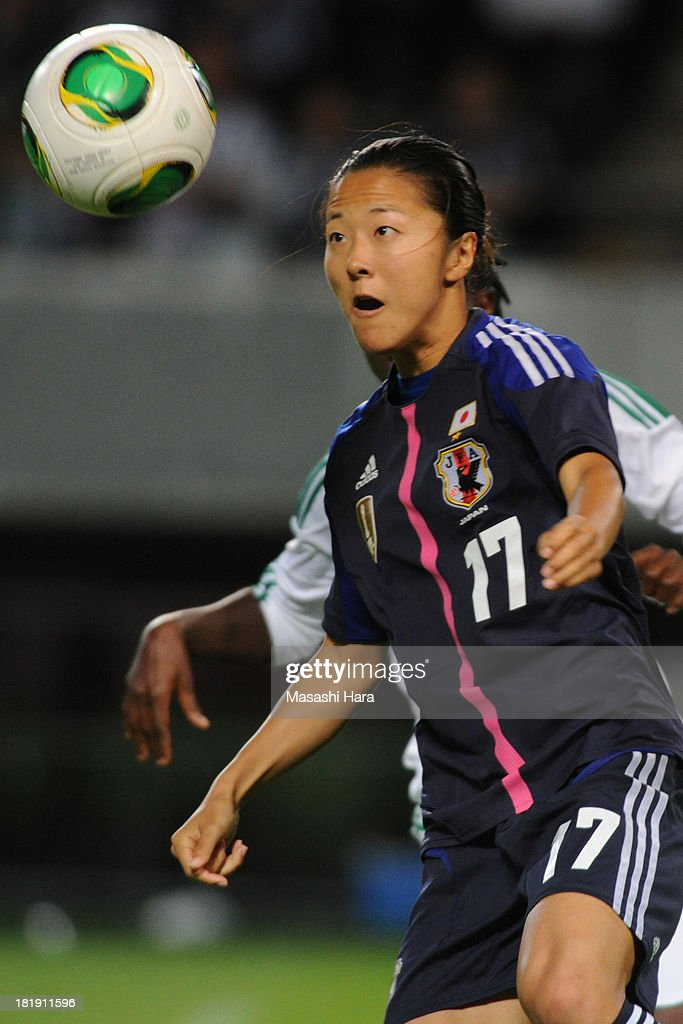 Yuki Ogimi #17 of Japan in action during the Women's international friendly match between Japan and Nigeria at Fukuda Denshi Arena on September 26, 2013 in Chiba, Japan.