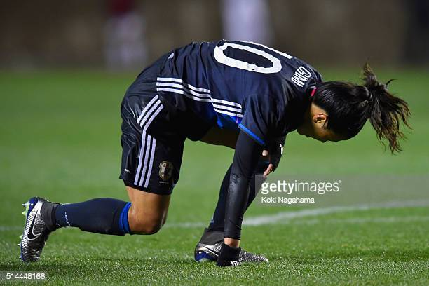 Yuki Ogimi of Japan reacts after missing a chance during the AFC Women's Olympic Final Qualification Round match between Japan and North Korea at...