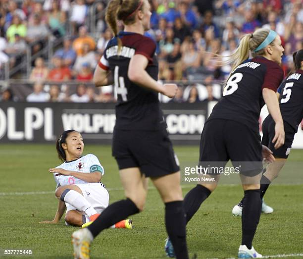 Yuki Ogimi of Japan scores her team's second goal of the first half against the United States in an international friendly in Commerce City Colorado...