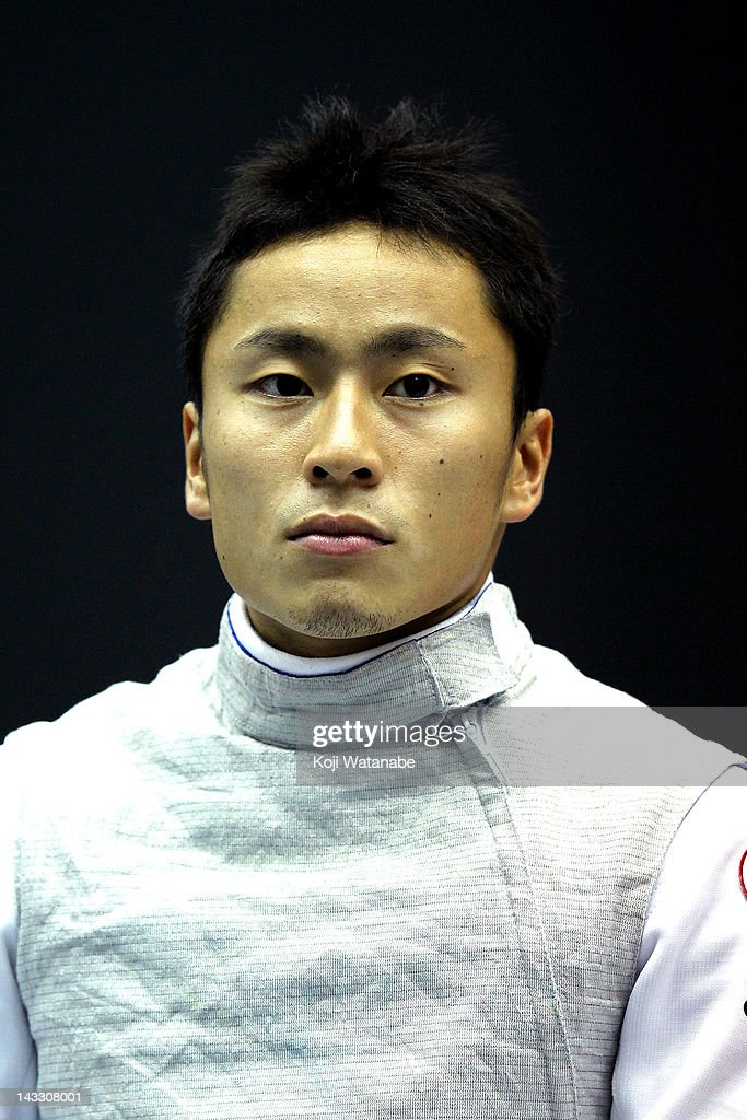 Yuki Ota of Japan looks on in the Men's Foil individual tableau of 4 on day two of the 2012 Asian Fencing Championships at Wakayama Big Wave on April 23, 2012 in Wakayama, Japan.