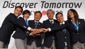 Yuki Ota Tokyo 2020 Bid Committee Ambassador pose with Christel Takigawa 'Cool Tokyo' Ambassado Naoki Inose Governor of Tokyo and Chairman Tokyo 2020...