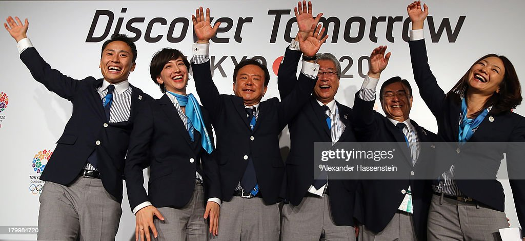 Yuki Ota Tokyo 2020 Bid Committee Ambassador pose with Christel Takigawa, 'Cool Tokyo' Ambassado, Naoki Inose, Governor of Tokyo and Chairman Tokyo 2020 Bid Committee, Tsunekazu Takeda, President of the Tokyo 2020 Bid Committee, Masato Mizuno, Tokyo 2020 Bid Committee CEO and Mami Sato, Tokyo 2020 Bid Committee Ambassador after a Tokyo 2020 Bid Committee press conference at Sheraton Buenos Aires Hotel and Convention Center after Tokyo is awarded the 2020 Summer Olympic Games during the 125th IOC Session - 2020 Olympics Host City Announcement on September 7, 2013 in Buenos Aires, Argentina.