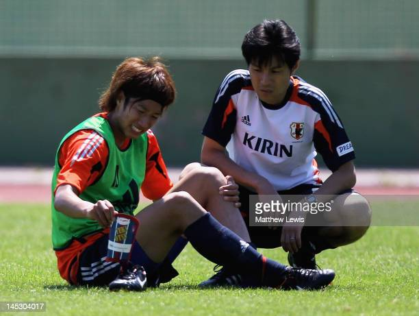 Yuki Otso of Japan looks on after a bad challenge during the training session at Stade Scaglia on May 26 2012 in La SeynesurMer France