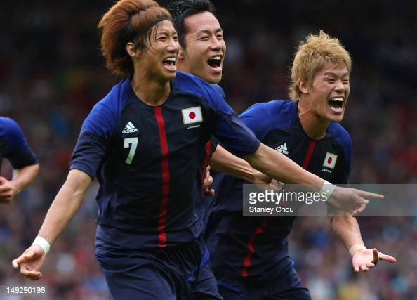 Yuki Otsu of Japan celebrates after scoring against Spain during the Men's Football first round Group D Match of the London 2012 Olympic Games...