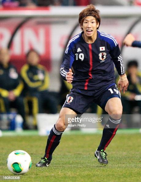 Yuki Otsu of Japan in action during the international friendly match between Japan and Latvia at Home's Stadium Kobe on February 6 2013 in Kobe Japan