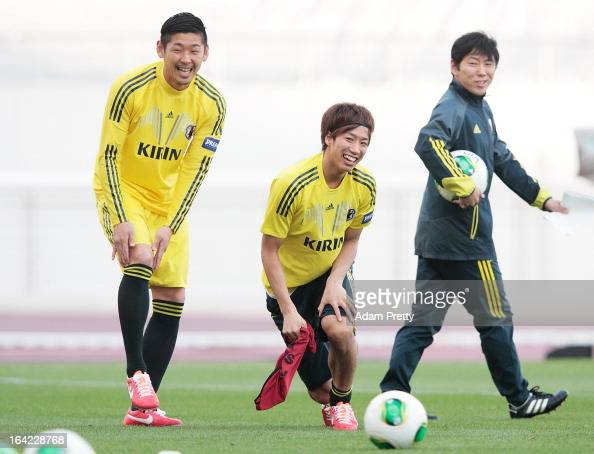 Yuki Otsu of Japan in action during the Japan Football team training session before the International Friendly football match between Japan and...