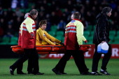 Yuki Otsu of Venlo is carried off with a stretcher by medical staff during the Eredivisie match between FC Groningen and VVV Venlo at the Euroborg...