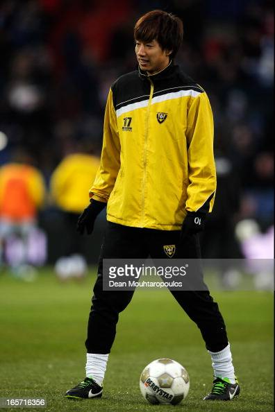 Yuki Otsu of Venlo warms up prior to the Eredivisie match between Feyenoord and VVV Venlo at De Kuip on April 5 2013 in Rotterdam Netherlands