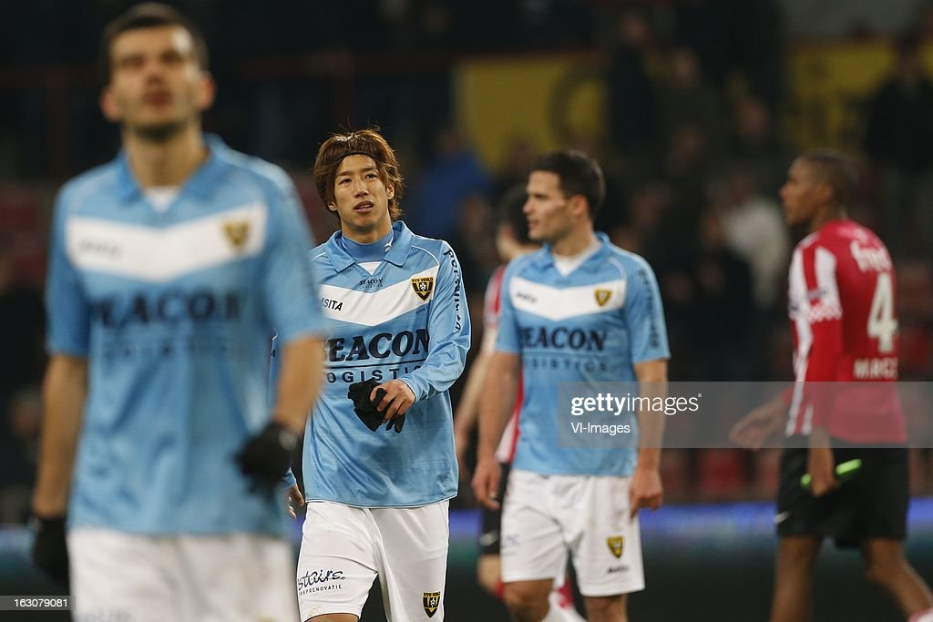 Yuki Otsu of VVV-Venlo (C) during the Dutch Eredivisie match between PSV Eindhoven and VVV-Venlo at the Philips Stadium on march 2, 2013 in Eindhoven, The Netherlands