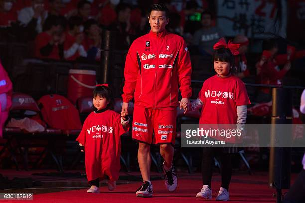 Yuki Togashi of the Chiba Jets enters the court prior to the B League match between Chiba Jets and Toyama Grouses at the Funabashi Arena on December...